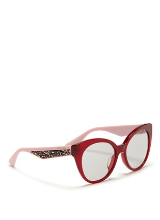 Figure View - Click To Enlarge - miu miu - Rhinestone pavé temple acetate cat eye sunglasses