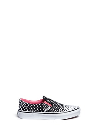 Main View - Click To Enlarge - Vans - 'Classic' heart and star print canvas kids slip-ons