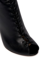 Corset lace-up leather peep toe boots