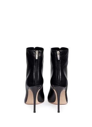 Back View - Click To Enlarge - Gianvito Rossi - Corset lace-up leather peep toe boots