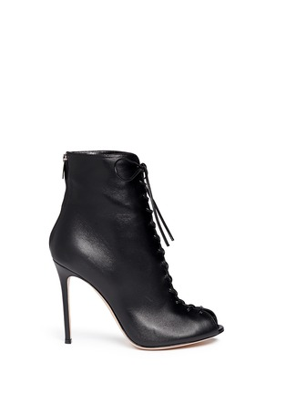 Main View - Click To Enlarge - Gianvito Rossi - Corset lace-up leather peep toe boots