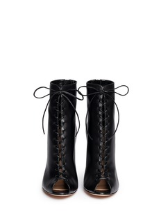 GIANVITO ROSSICorset lace-up leather peep toe boots