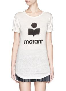 ISABEL MARANT ETOILE'Koldi' roll sleeve logo T-shirt