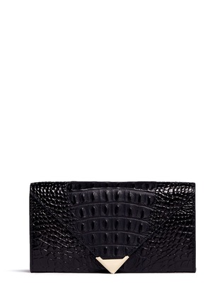 Main View - Click To Enlarge - Alexander Wang  - 'Prisma' alligator embossed leather envelope continental wallet