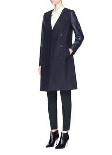 THEORY'Quennel' detachable leather sleeve compact wool coat