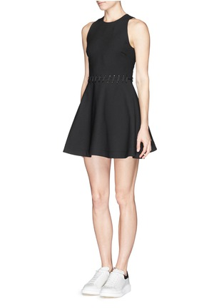 Figure View - Click To Enlarge - Elizabeth and James - 'Carter' lace-up waist jersey flare dress