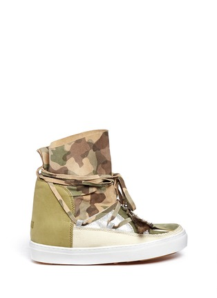 Main View - Click To Enlarge - INUIKII - 'Saomik' camouflage print suede sneaker boots