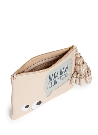 Detail View - Click To Enlarge - Anya Hindmarch - 'Georgiana Bags Have Feelings Too!' capra leather clutch