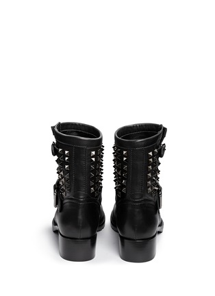 Back View - Click To Enlarge - Valentino - 'Rockstud Noir' leather biker ankle boots