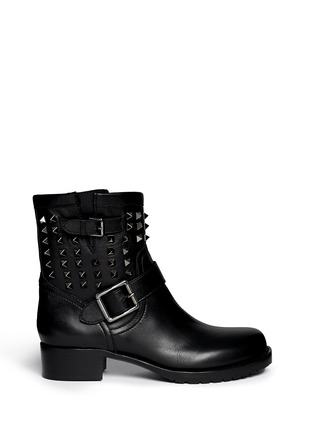 Main View - Click To Enlarge - Valentino - 'Rockstud Noir' leather biker ankle boots