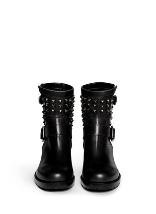 Figure View - Click To Enlarge - Valentino - 'Rockstud Noir' leather biker ankle boots