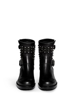 'Rockstud Noir' leather biker ankle boots