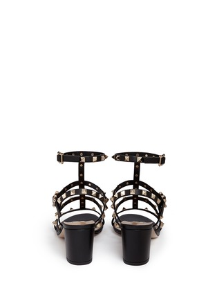 Back View - Click To Enlarge - Valentino - 'Rockstud' block heel leather caged sandals