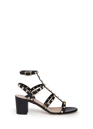Main View - Click To Enlarge - Valentino - 'Rockstud' block heel leather caged sandals