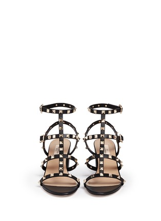 Figure View - Click To Enlarge - Valentino - 'Rockstud' block heel leather caged sandals