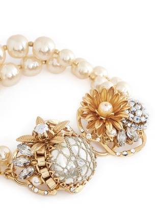 细节 - 点击放大 - MIRIAM HASKELL - 花卉水晶双排珍珠手链