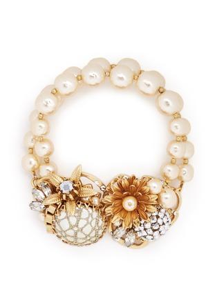首图 - 点击放大 - MIRIAM HASKELL - 花卉水晶双排珍珠手链