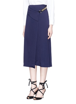 Front View - Click To Enlarge - Lanvin - Chain strap satin wrap skirt