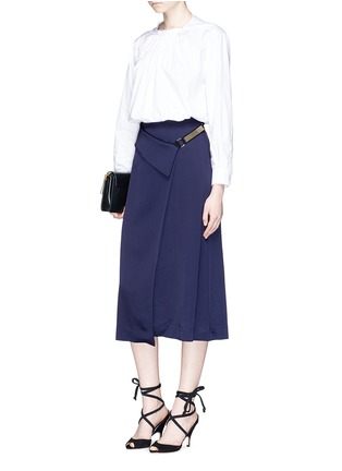 Figure View - Click To Enlarge - Lanvin - Chain strap satin wrap skirt