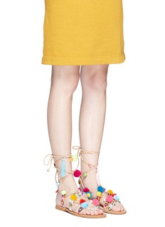 MABU by Maria BK 'Misty' pompom embroidered lace-up sandals