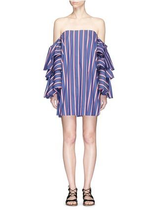 Main View - Click To Enlarge - Caroline Constas - 'Carmen' stripe poplin off-shoulder bustier dress