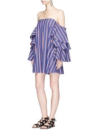Figure View - Click To Enlarge - Caroline Constas - 'Carmen' stripe poplin off-shoulder bustier dress