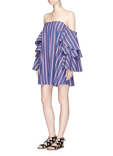 Caroline Constas 'Carmen' stripe poplin off-shoulder bustier dress