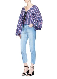 Caroline Constas 'Olympia' stripe puff sleeve lace-up blouse