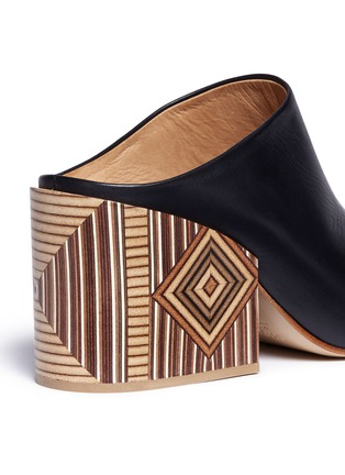 Detail View - Click To Enlarge - Gabriela Hearst - 'Pravato' geometric print heel leather mules