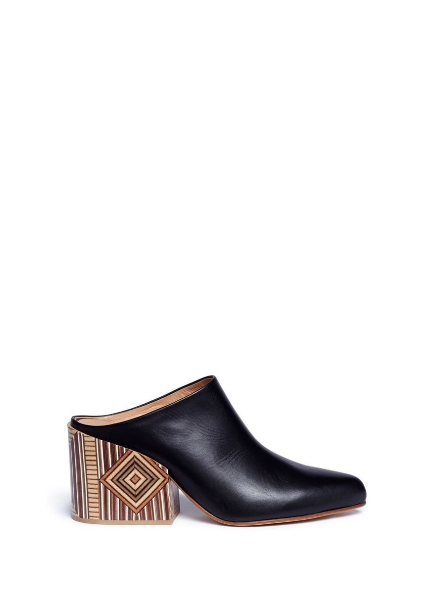Pravato geometric print heel leather mules by Gabriela Hearst