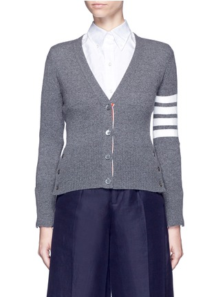 Main View - Click To Enlarge - Thom Browne - Stripe sleeve cashmere cardigan