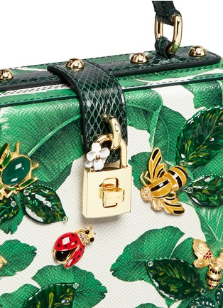 Detail View - Click To Enlarge - Dolce & Gabbana - 'Dolce Box' snakeskin trim embellished leather bag