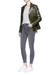 Topshop'Jamie' high waist distressed ankle grazer jeans