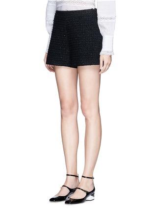 Front View - Click To Enlarge - Giamba - Metallic tweed virgin wool blend shorts