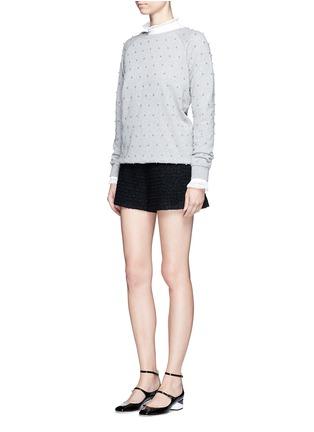 Figure View - Click To Enlarge - Giamba - Metallic tweed virgin wool blend shorts