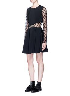 GiambaFrayed polka dot tulle bow waist dress
