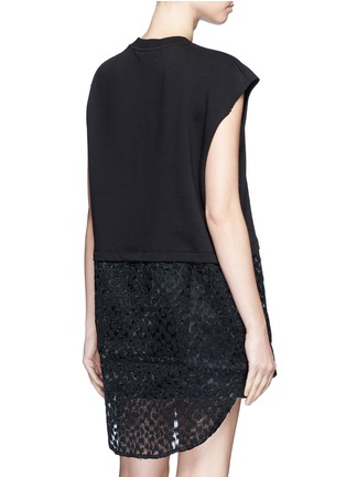 Back View - Click To Enlarge - Giamba - Embroidered sheer hem sleeveless sweatshirt