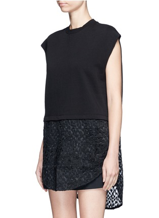 Front View - Click To Enlarge - Giamba - Embroidered sheer hem sleeveless sweatshirt