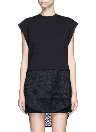 Main View - Click To Enlarge - Giamba - Embroidered sheer hem sleeveless sweatshirt