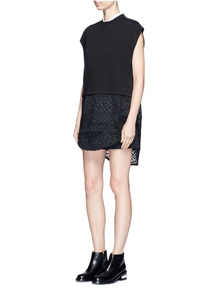 Figure View - Click To Enlarge - Giamba - Embroidered sheer hem sleeveless sweatshirt