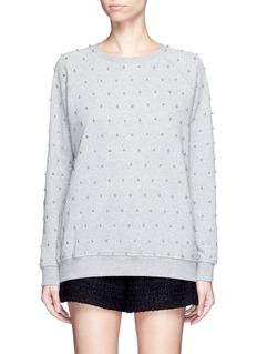 GiambaBeaded raglan sleeve cotton sweatshirt