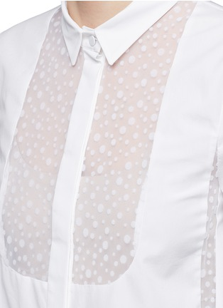 Detail View - Click To Enlarge - Giamba - Velvet polka dot sheer insert cotton shirt