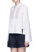 Velvet polka dot sheer insert cotton shirt
