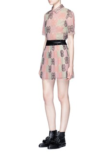 Giamba Butterfly embroidered eyelet trim tulle skirt