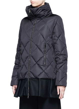 Front View - Click To Enlarge - Moncler - 'Vouglans' diamond quilted peplum hem down jacket