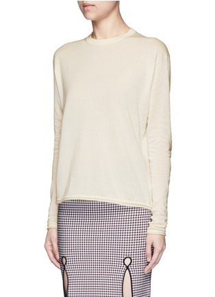 Front View - Click To Enlarge - Acne Studios - 'Caci' kid mohair trim cotton sweater