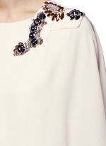Jewelled cape overlay crepe gown