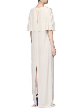 Lanvin-Jewelled cape overlay crepe gown