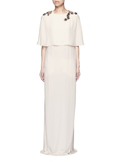 LANVIN Jewelled cape overlay crepe gown