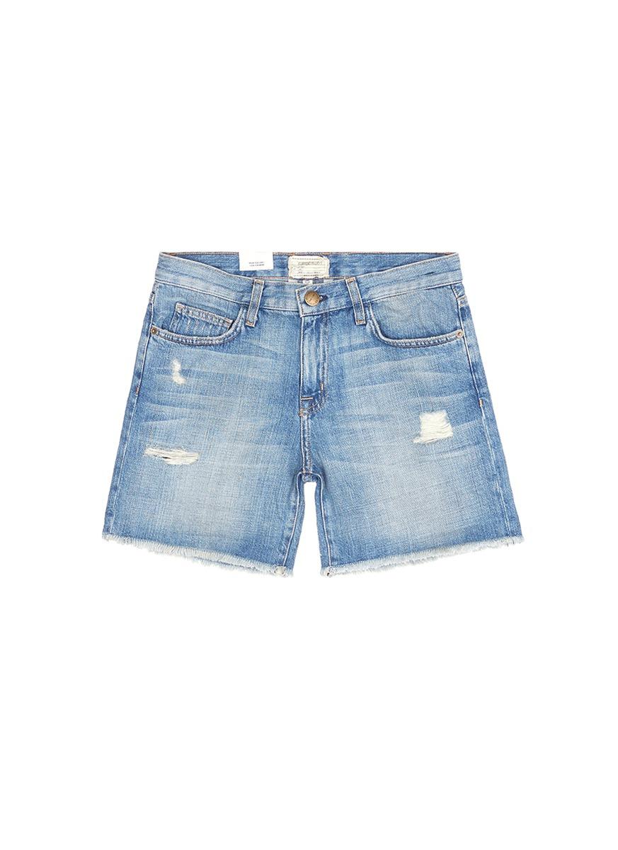 The Boyfriend distressed rolled denim shorts by Current/Elliott